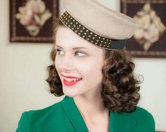 Vintage 1940s Hat - High Drama Tall Crown Beige Wool Felt Brass Studded 40s New York Creation Hat