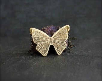 Etched Butterfly Pendant Necklace - No.3, Gold Brass, Bown Oxidized Patina, Nature Jewelry, Boho Bohemian Jewelry