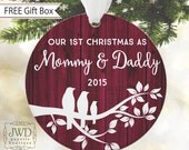 First Christmas as Mommy and Daddy Personalized New Parent Gift Family Tree Ornament Porcelain Ornament Faux Rustic Wood - Item# TB1-MD-O