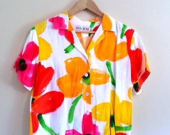 Vintage Bright Watercolor Floral Blouse - Size M