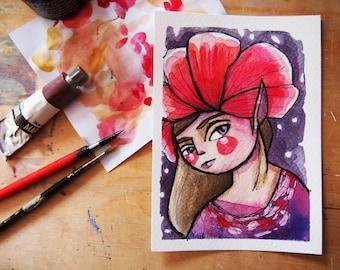 Red fairy, fantasy illustration, original watercolor postcard