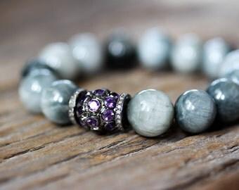 Eagles Eye Diamond Amethyst Statement Bracelet / Diamond Pave Bracelet, Bohochic, Boho Bracelet, February Birthstone, Natural Gemstone