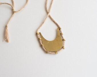 Azur Necklace - Linen Fiber Cord, Tassel Necklace, Stamped Brass Fringe Necklace
