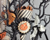 Halloween Ornament, Mini Candy Cone with Vintage Pumpkin by Stacy Marie