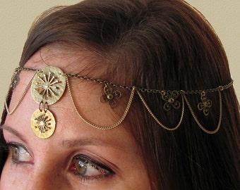 Meet Me At the Faire Festival Head Chain ~ Boho Sun Goddess Headdress ~ Renaissance Hair Chain ~ Bridal Headpiece