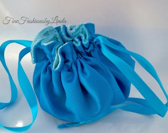Satin Pouch, Bridesmaid Bag, Flower Girl Purse, Drawstring Bag, Turquoise Satin, Azure Blue, Jewelry Bag, Ready To Ship