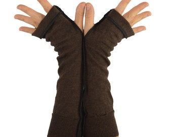 Arm Warmers in Coffee and Chocolate Brown Merino - Recycled Wool - Fingerless Gloves