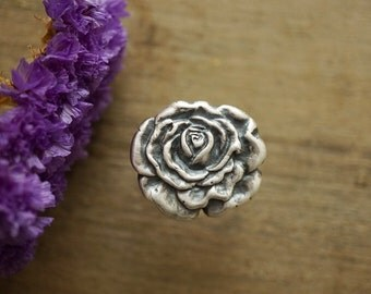 Large Rose Ring Sterling and Pure Silver Handmade Ring Size 7.5