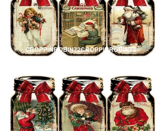 Christmas Vintage Mason Jars (141) Scrapbook Card Embellishments Hang Gift Tags