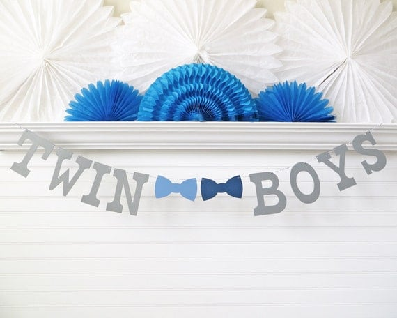 Twin boys banner 5 inch letters with bow ties twin for Baby shower decoration ideas for twin boys
