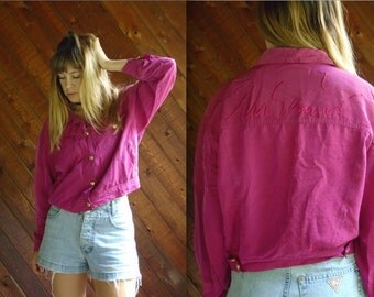 Vtg MOSCHINO Jeans Cropped Pink Bomber Jacket - 80s - MEDIUM