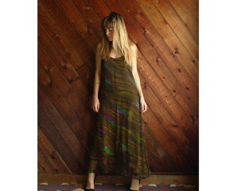extra 25% off SALE ... 90s Brushstroke Printed Brown Double Layer Sheer Maxi Boho Dress - Vintage - MEDIUM M