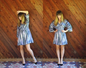 Lurex Striped Bell Sleeve Mini Dress - Vtg 70s - M/L Petite