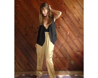 Oversized Black Menswear Wool Waistcoat Vest - Vintage 80s - M/L