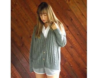 Grey Cable Knit V Neck Cardigan Sweater - Vintage 90s - MEDIUM