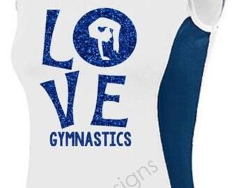 Love Gymnastics Sleeveless Jersey with Glitter Vinyl, Gymnastics Shirt