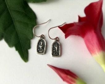 tiny Buddha earrings, sterling silver, everyday earrings, feminine, delicate earrings, yoga jewelry, ready to ship