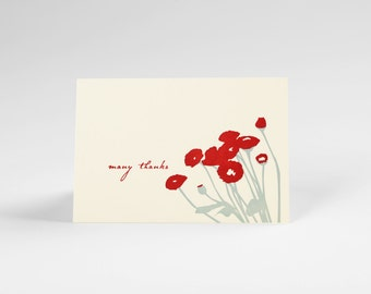 Red Poppies Letterpress thank you note set