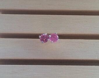 Pink Tourmaline Stud Earrings Sterling Silver October Birthstone 4mm