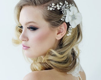 Pearl bridal comb wedding bridal swirl leaf ivory freshwater pearl wedding hair accessories