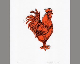 Rooster - Screen Print - Limited Edition (Tomato Red)