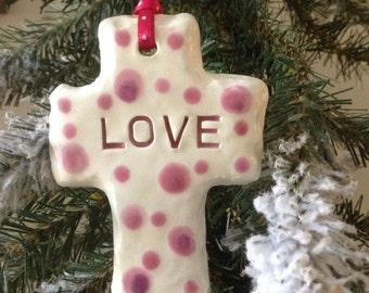 Cross Ornament - Slate sign - love  - ceramic glazed pink polka dot