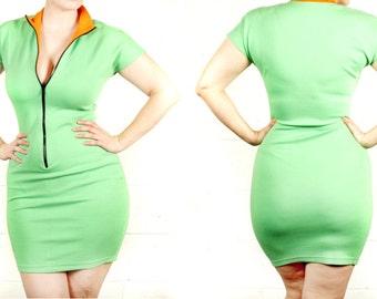 80s Raver Club Kid Neon Green Body Con Zip-Up Wiggle Dress