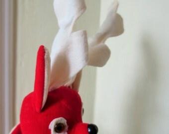 Vintage Reindeer, Fabric Deer, Christmas Decor, Red Plush Reindeer, Holiday Decor, Mid Century Deer, Plush Red Deer, Cloth Reindeer, Kawaii