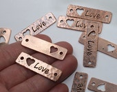 Love Heart Links 1 Or More TierraCast Antique Copper Plate Focal Tierra Cast Lead Free Pewter Dark Letters Rivetable Heart Cutout Romance <3