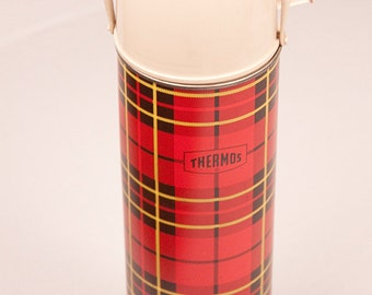 Red Plaid Thermos Bottle No. 2442 King-Seeley Thermos Co 1964 Quart Size Vacuum Bottle Father's Day Gift