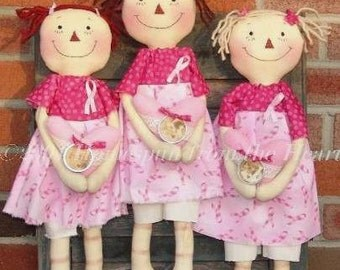 Pink Ribbon Raggedy Dolls Pattern, raggedy doll, Breast Cancer Awareness gift, Pink Ribbon Gift item, HFTH163