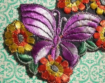 Vintage Applique 1920s 1930s Sew On Fabric Applique Purple Butterfly Motif Orange and Yellow Flowers 20s 30s Art Deco Dress Trim
