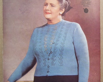 Vintage Knitting Pattern 1930s 1940s Women's Twin Set Sweater Jumper Cardigan 30s 40s original pattern George Lee & Sons No. 700 UK L Large