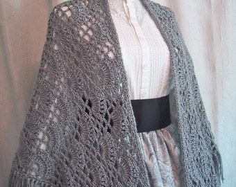 Heather Gray Shawl for Historical Costume - Victorian Wrap - Civil War Accessory - Hand Crocheted - Made to Order