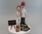 Bride & Groom with a Cat Customized Wedding Cake Topper - reserved for pizzocasey