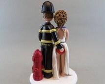 Firefighter & Sexy Nurse Custom Made Wedding Cake Topper
