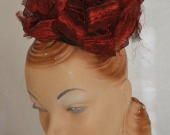 Fascinator Hat Red Organza Poof