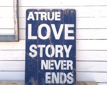Love Sign, True Love, Vintage Style, Wedding Sign, Word Decor, I Love You, Romantic Sayings