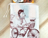 """Gift Bag / 8x11"""" BOOK BEAR on a bike- Hand Printed Drawstring Reusable Cotton"""
