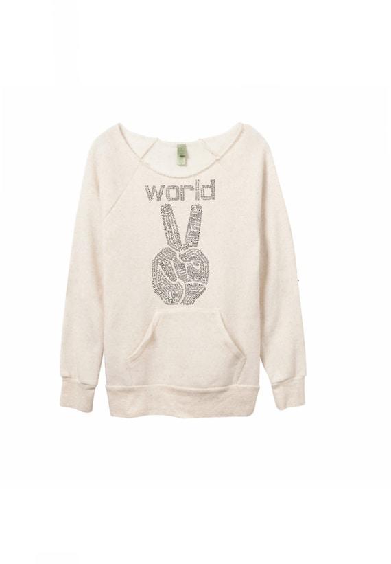 Womens sweatshirt, World Peace, teen sweatshirts, cozy sweater, boho chic, peace sign, off the shoulder sweater, girlfriend gift womens gift