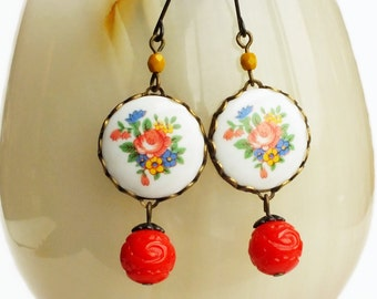 Red Floral Earrings Vintage Retro Red Flower Cameos Vintage Rose Jewelry Cute Red Jewellery