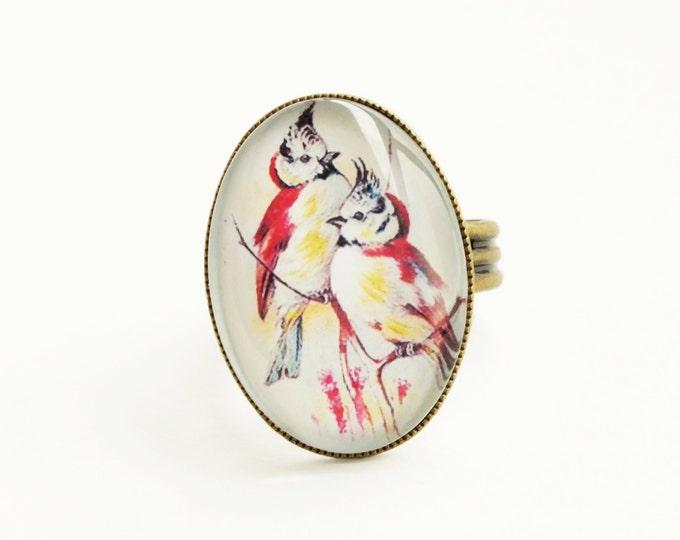 Bird Ring Vintage Victorian Bird Ring Cardinal Jewelry Red Bird Ring Adjustable Glass Ring Antique Brass