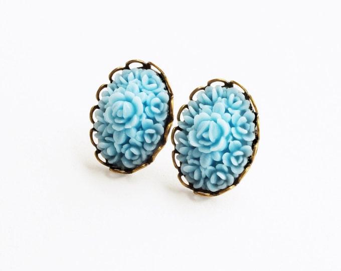 Blue Rose Stud Earrings Vintage Carved Resin Light Blue Flower Studs Hypoallergenic Post Earrings
