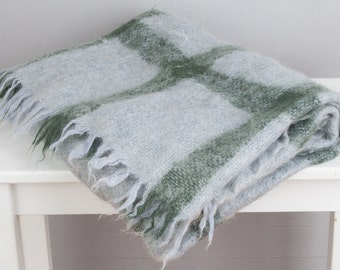 Grey and Green Mohair Throw Blanket