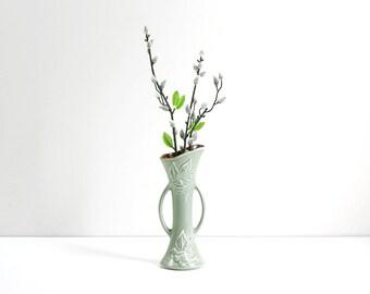Vintage 1940s Red Wing Pottery Vase / Vintage Pearl Grey & Rust Ivy Vase