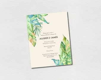 rehearsal dinner invitations tropical leaves summer wedding PRINTABLE PDF personalized custom rehearsal dinner invites green blue watercolor