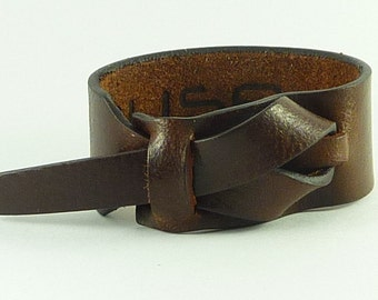 Mahogany water buffalo leather Cuff / Bracelet Nickle-Free/vegetable tanned leather Free shipping