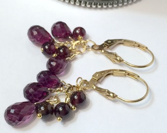 Rhodolite Garnet Earrings, Genuine Gemstone Raspberry 14kt Gold Fill, Wire Wrapped Cluster Dangle, Minimalist Jewelry, January Birthstone