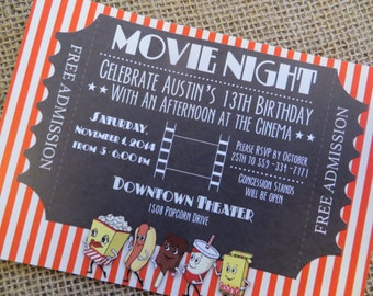 Digital Movie Theater Invitation, movie theatre birthday party supplies