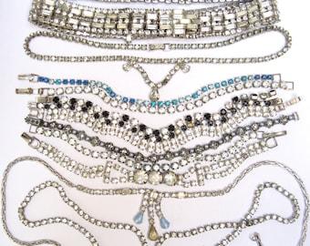 VIntage RHINESTONE Jewelry LOT Repair HARVEST Necklace Bracelet Craft Parts Upcycle Repurpose
